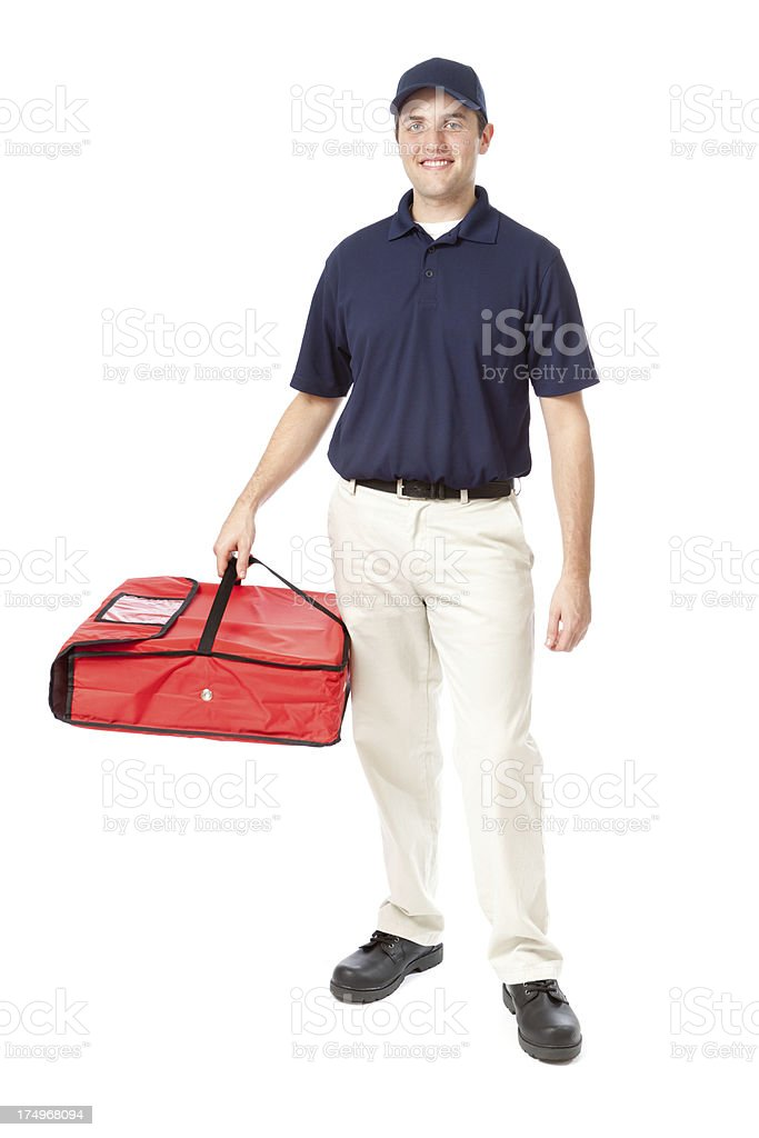 Friendly Pizza Delivery Man with Insulated Package on White Background royalty-free stock photo