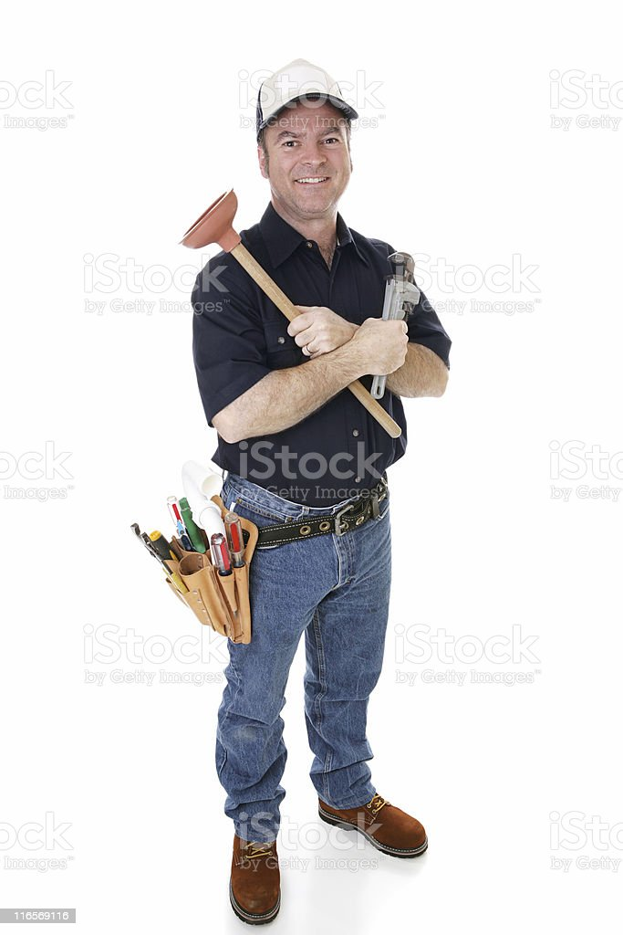 Friendly Plumber Complete stock photo