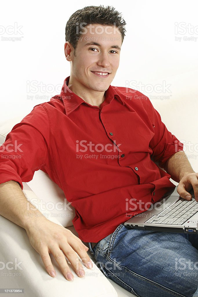 Friendly portrait with laptop royalty-free stock photo