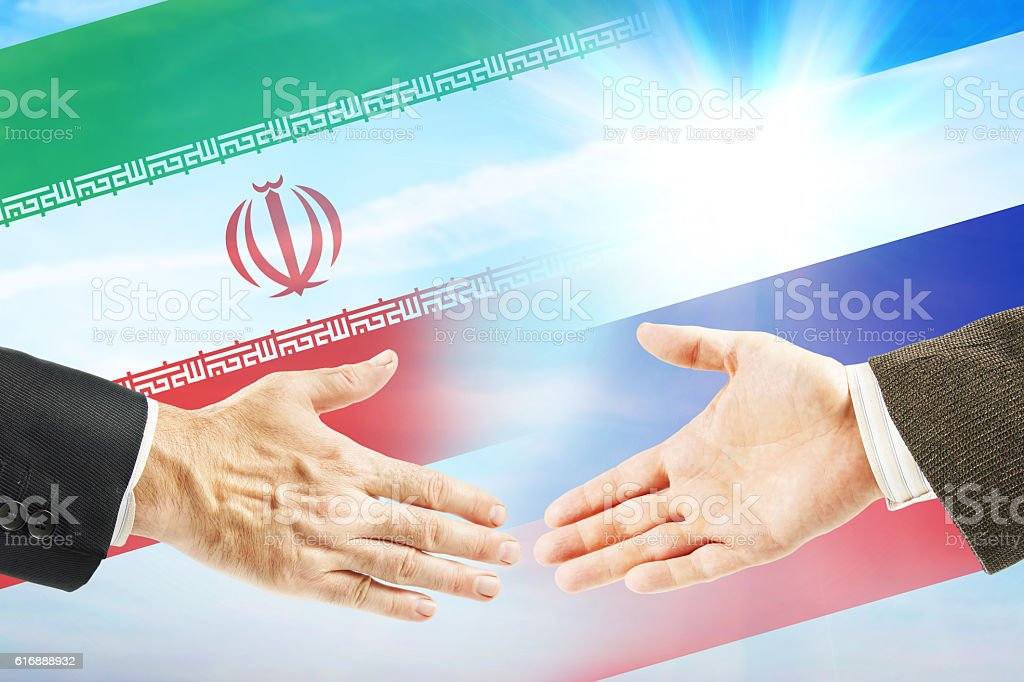 Friendly relations between Iran and Russia stock photo