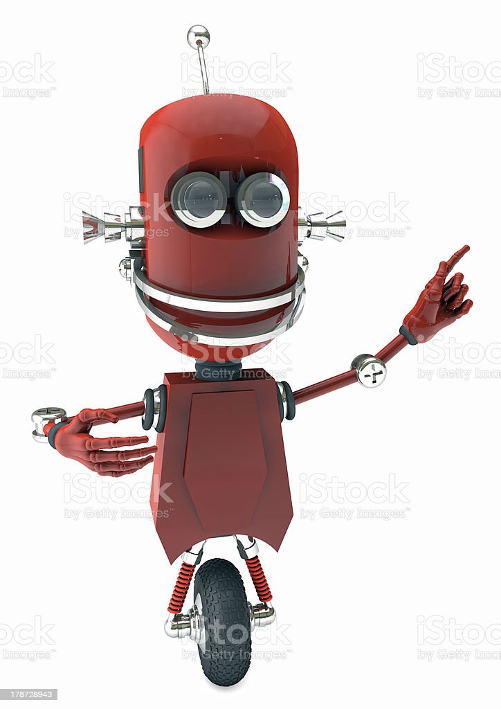 Friendly robot pointing on something stock photo