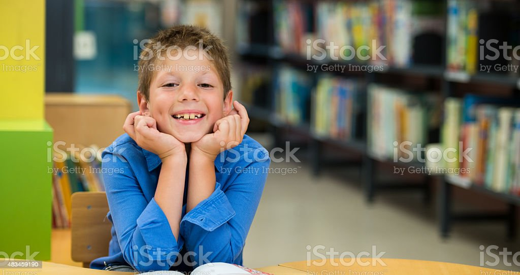 Friendly Schoolboy In Library stock photo