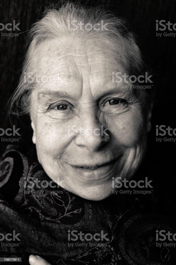 Friendly senior woman stock photo