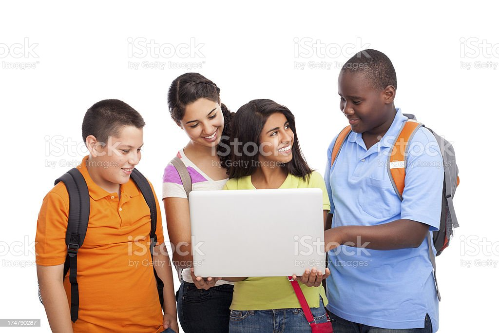 Friendly students working together royalty-free stock photo