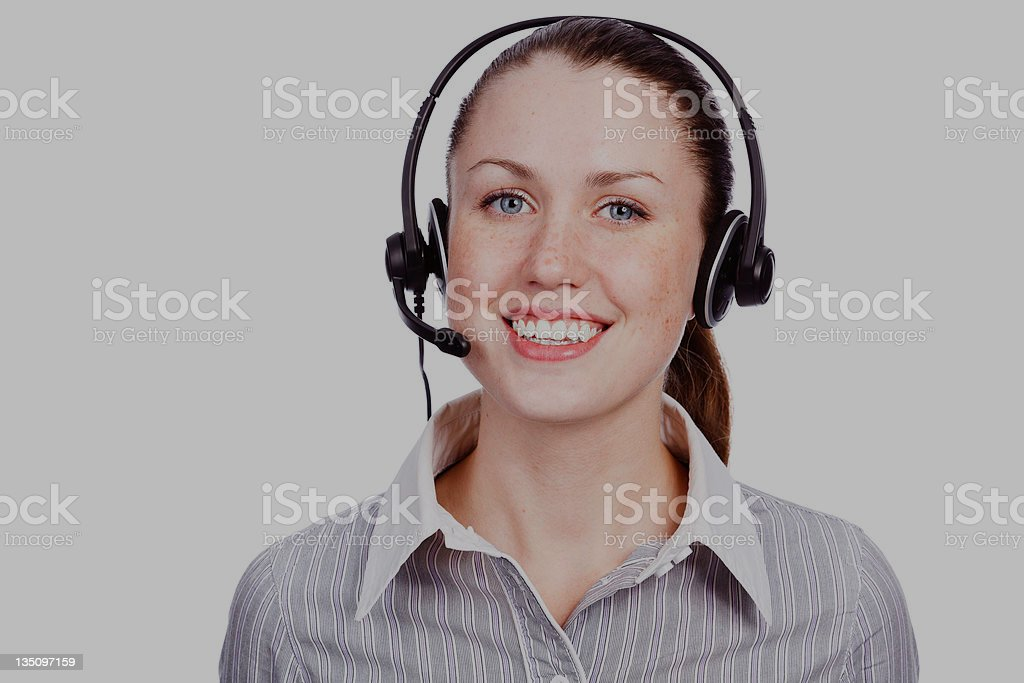 Friendly telephone operator royalty-free stock photo