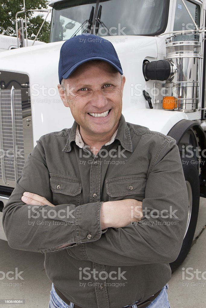 Friendly Truck Driver royalty-free stock photo