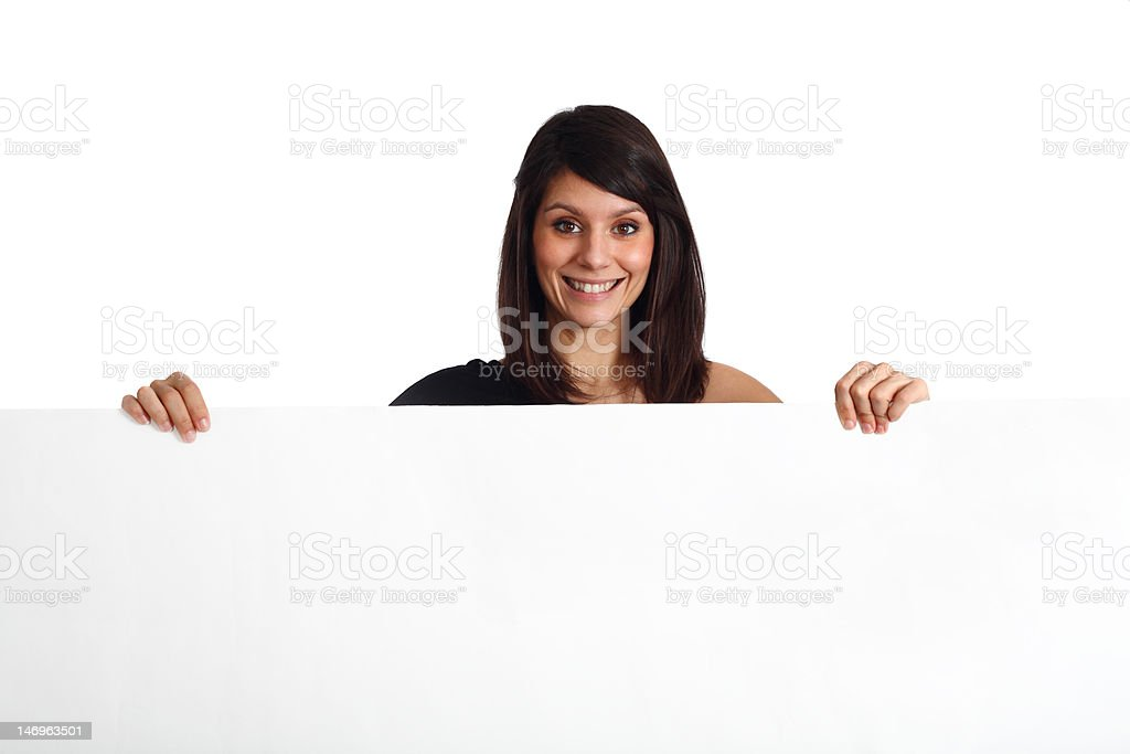 friendly woman holding a banner stock photo