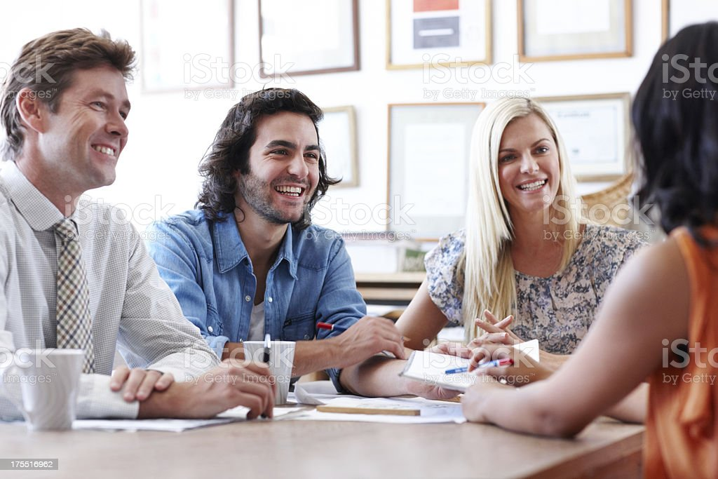 Friendly work environments help them to think creatively royalty-free stock photo