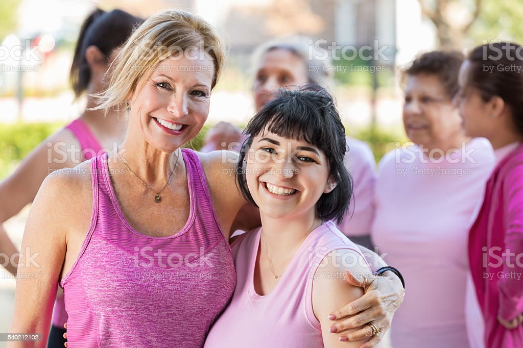 Friends at 5k charity race stock photo