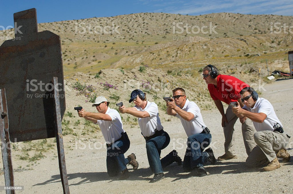 Friends at a firing Range stock photo