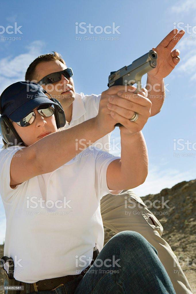 Friends at a firing Range stock photo