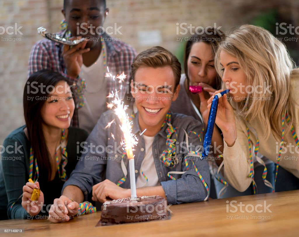 Friends at a party stock photo