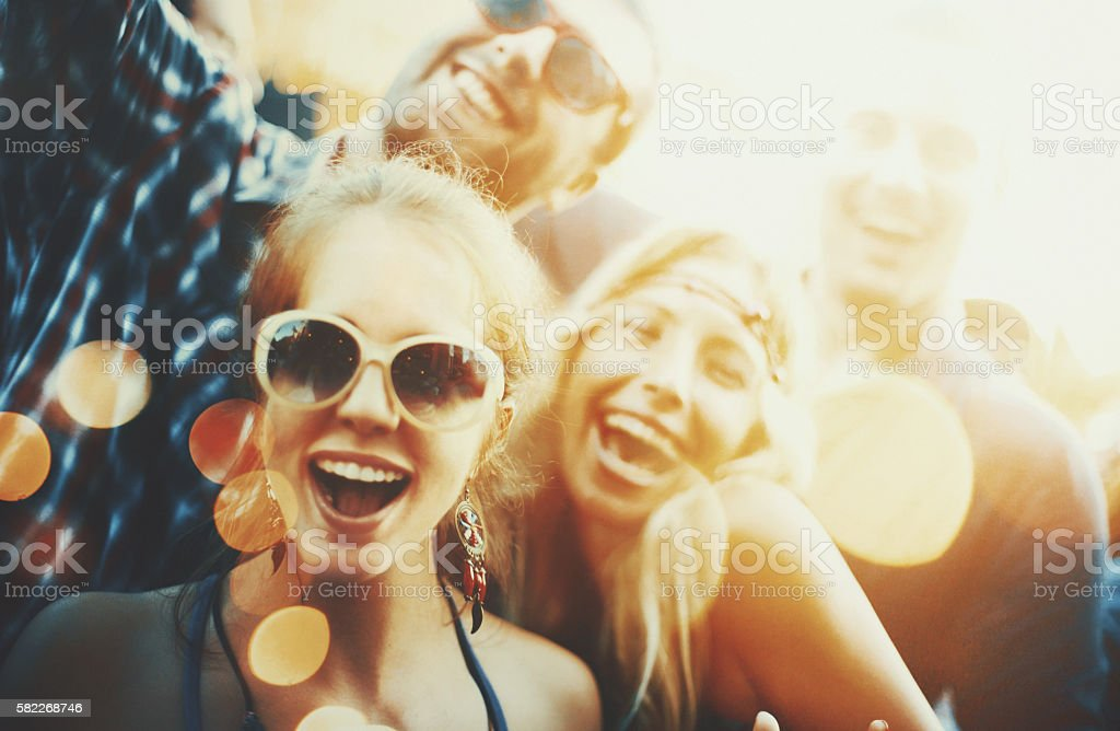 Friends at a party. stock photo
