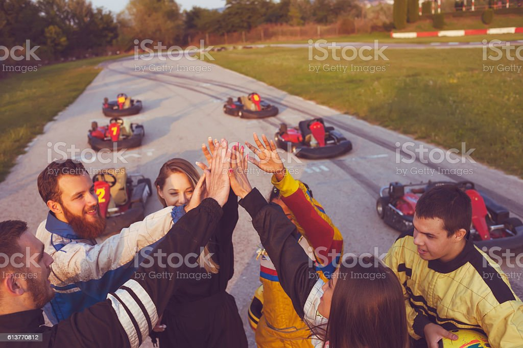 Friends at amusement park stock photo