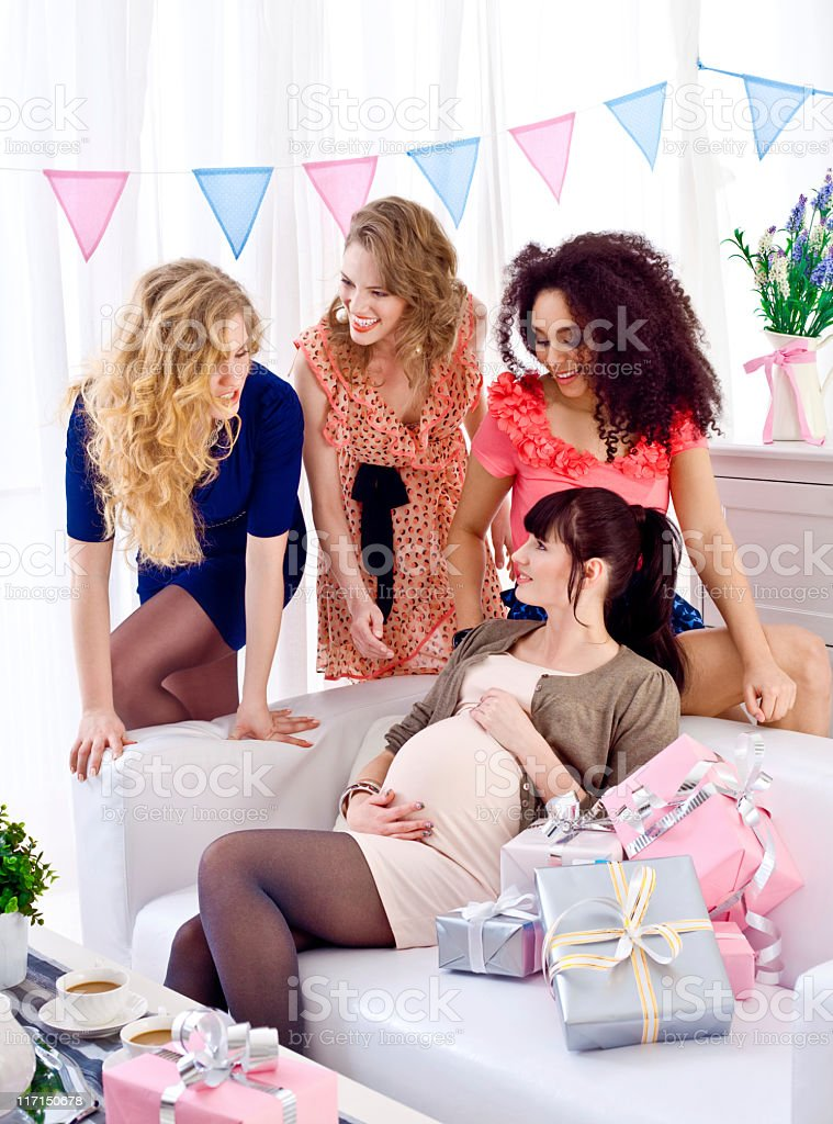 Friends at baby shower royalty-free stock photo