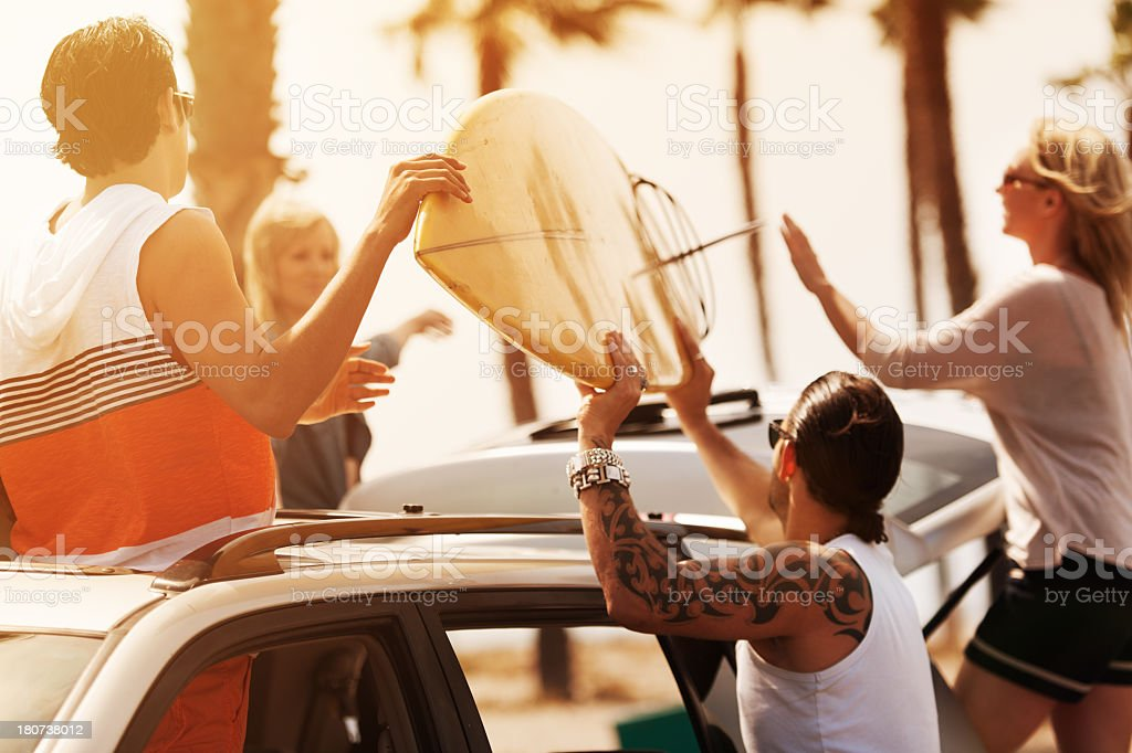 Friends at beach royalty-free stock photo