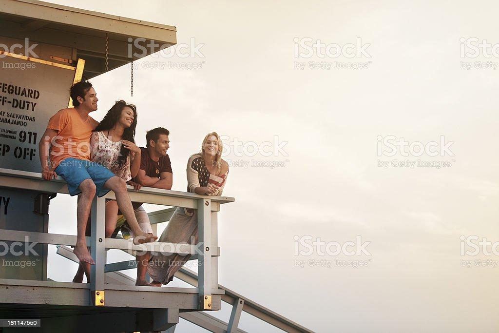 Friends at beach stock photo