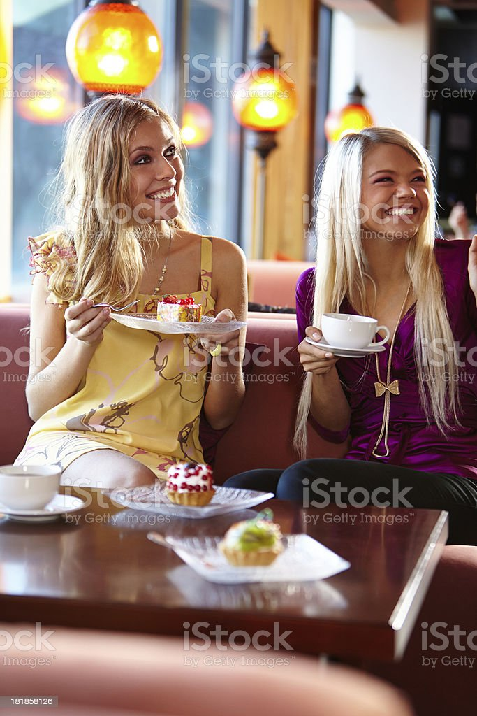 Friends at cafe royalty-free stock photo
