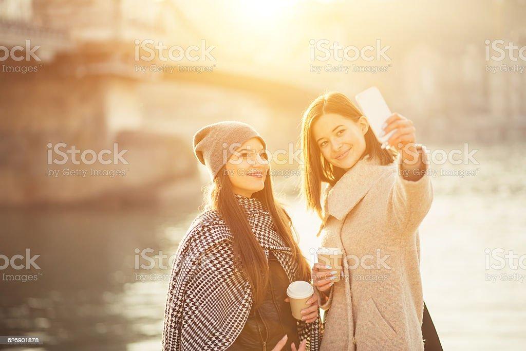 friends at chain Bridge stock photo