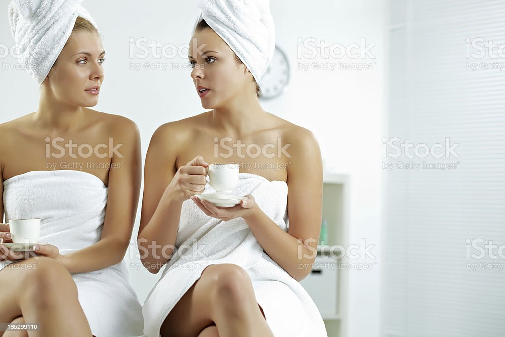 Friends at spa salon royalty-free stock photo