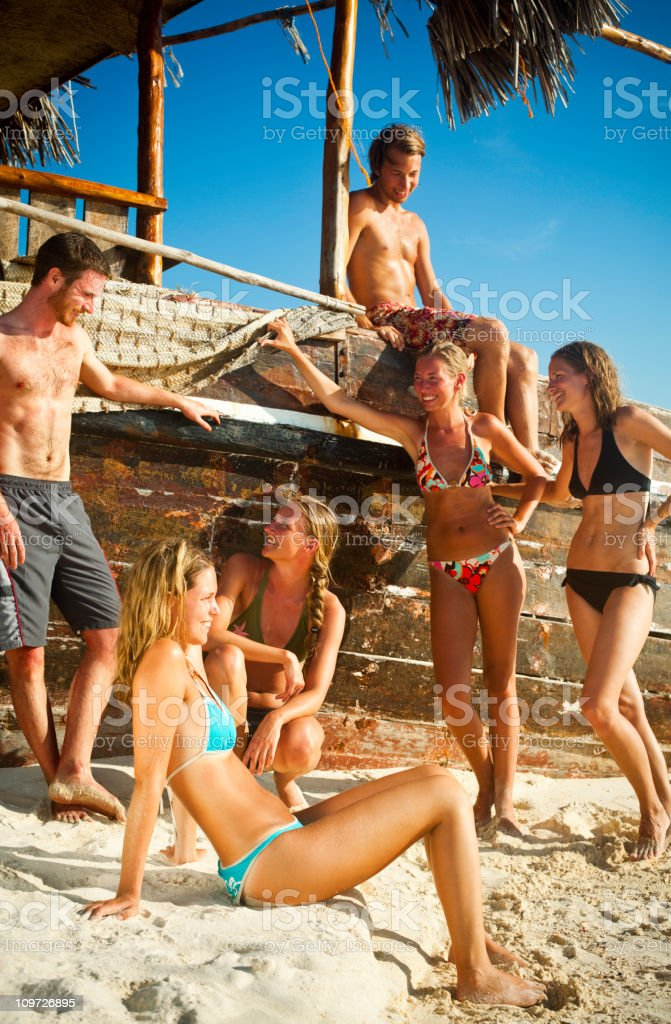Friends at the Beach royalty-free stock photo