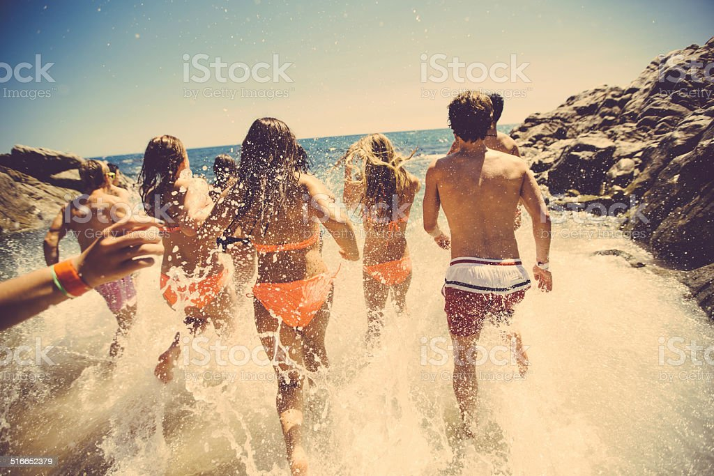 Friends At The Beach stock photo