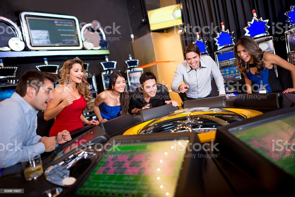 Friends at the Casino stock photo