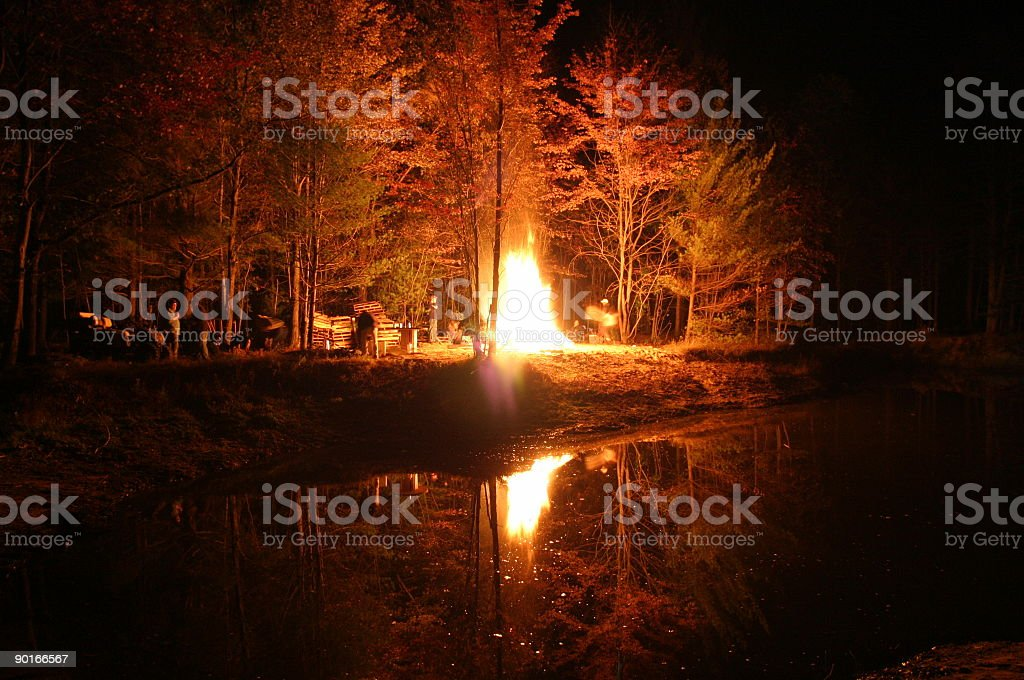 friends at the fire royalty-free stock photo