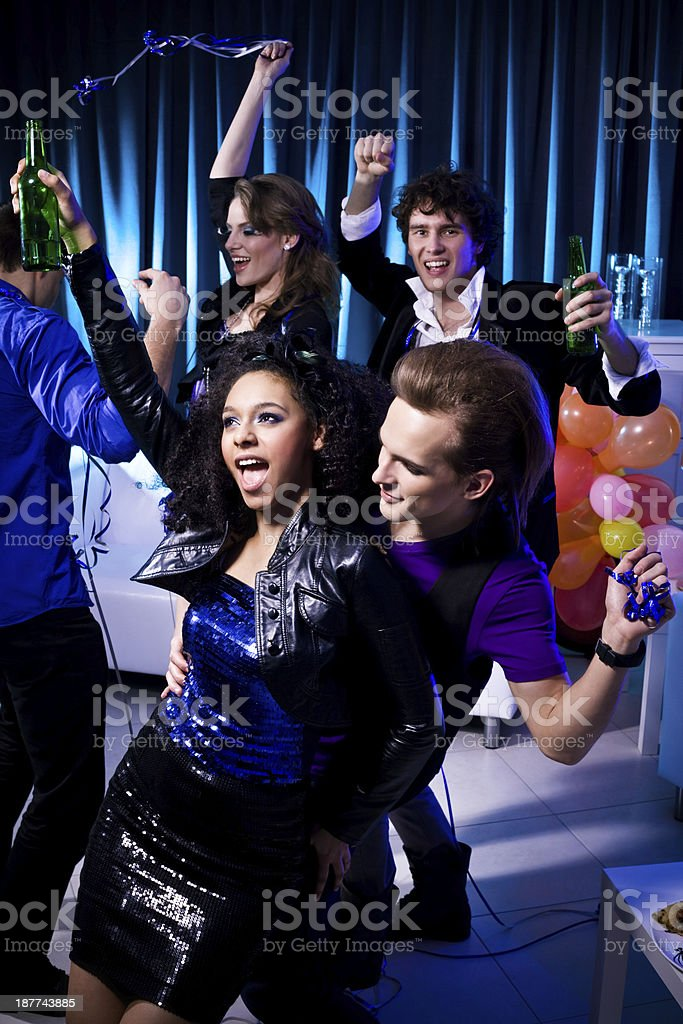 Friends at the Night Party royalty-free stock photo