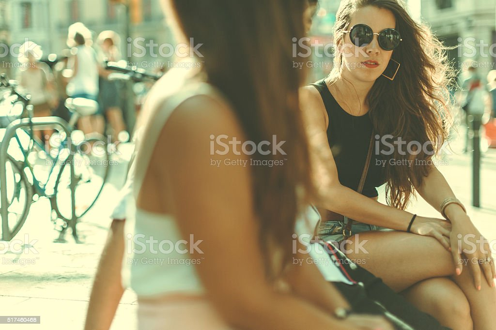 Friends  at the Rambla, in Barcelona, Spain stock photo