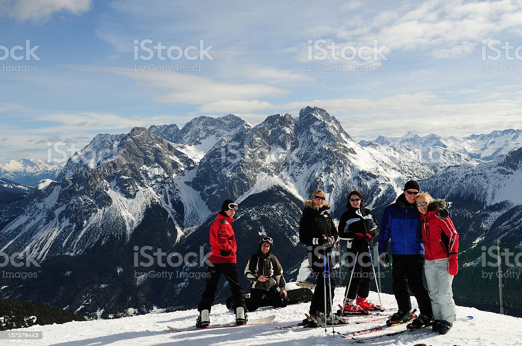 Friends at the ski resort royalty-free stock photo