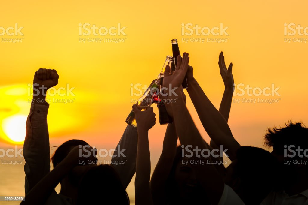 Friends Beach Party Drinks Toast Celebration Concept stock photo