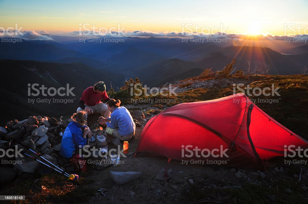 Friends Camping royalty-free stock photo