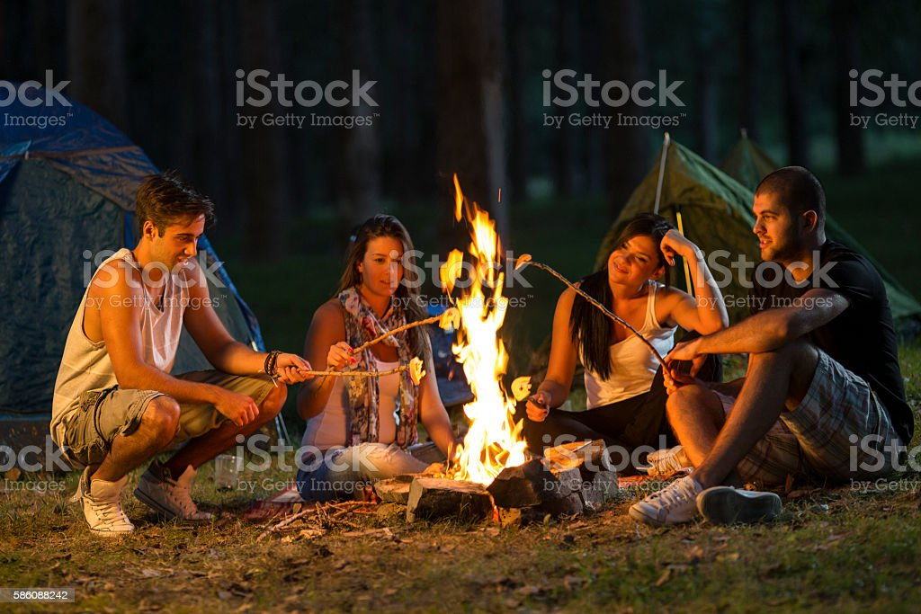 Friends camping stock photo