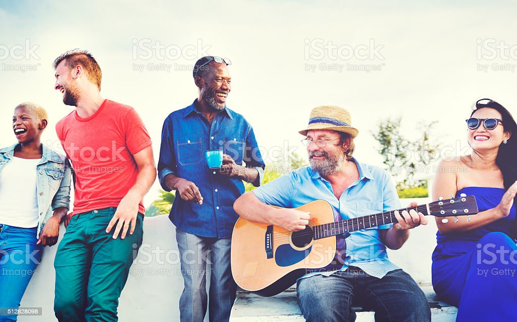 Friends Celebration Beach Happiness Concept stock photo