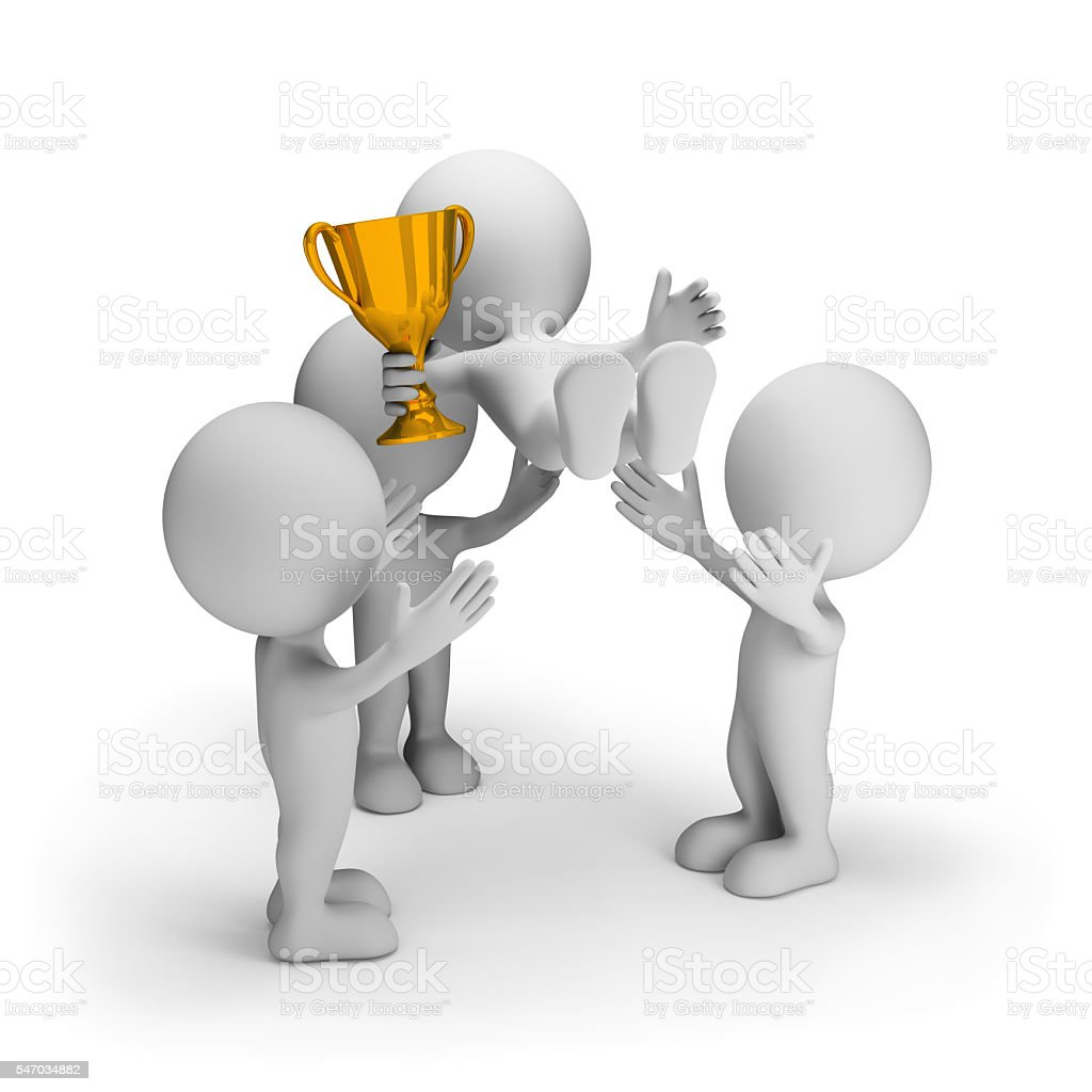 Friends congratulate the winner stock photo