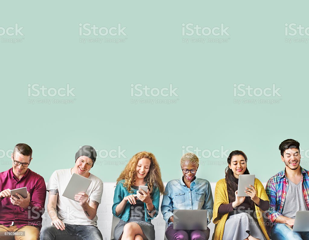 Friends Connection Digital Devices Technology Network Concept stock photo