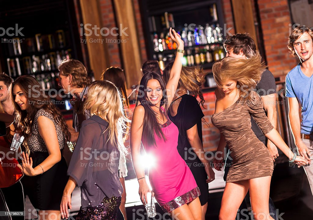 Friends Dancing At A Party stock photo