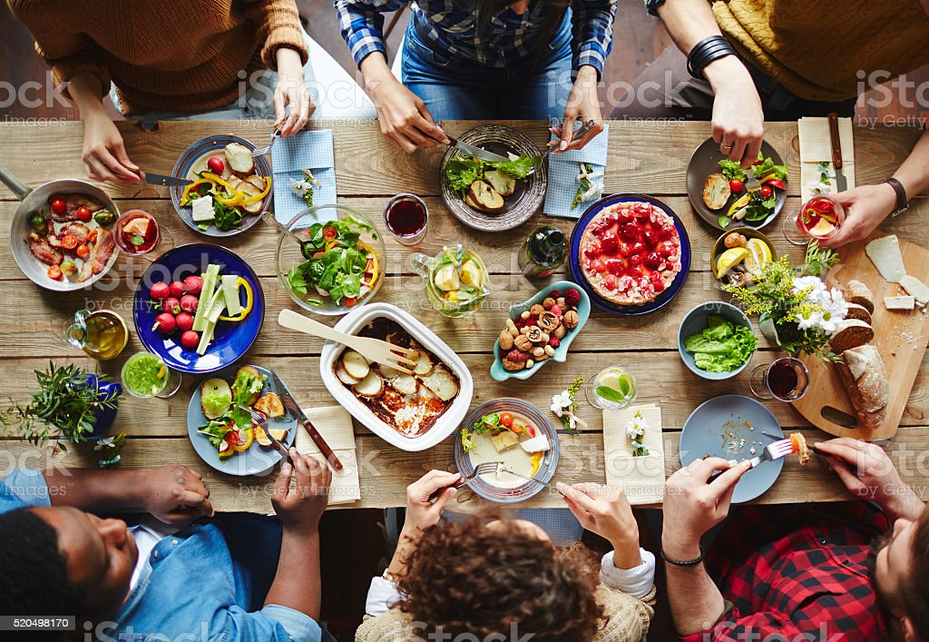Friends dining stock photo