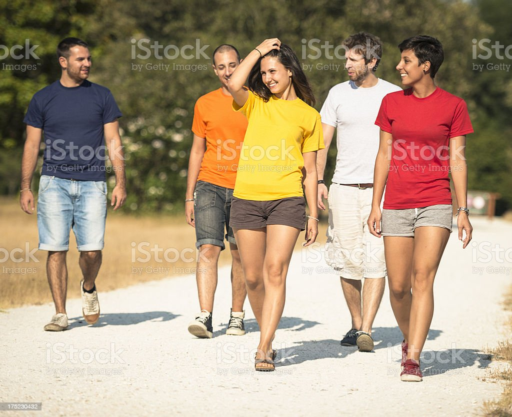 Friends discover the world together at summer royalty-free stock photo