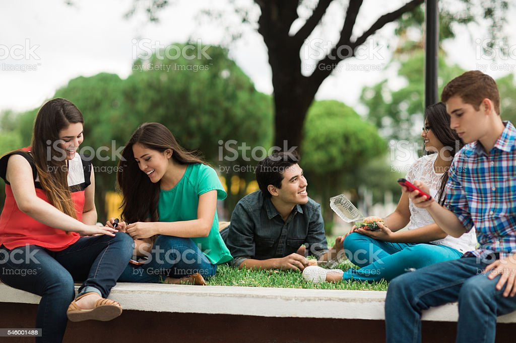 Friends doing free time activities stock photo