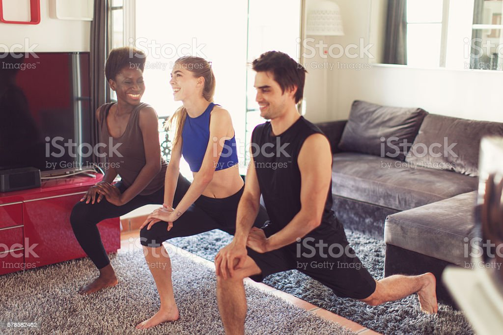 Friends Doing Yoga stock photo