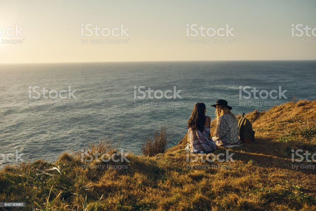 Friends don't let friends travel alone stock photo