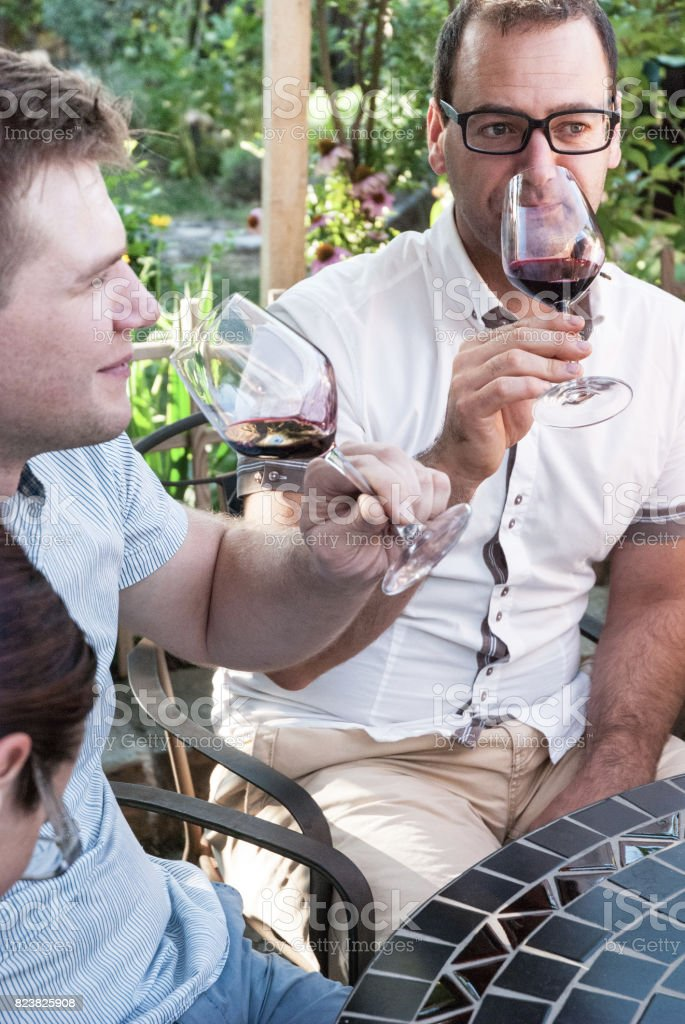 Friends Drinking Red Wine stock photo