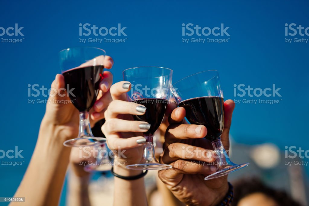Friends drinking wine outdoors stock photo