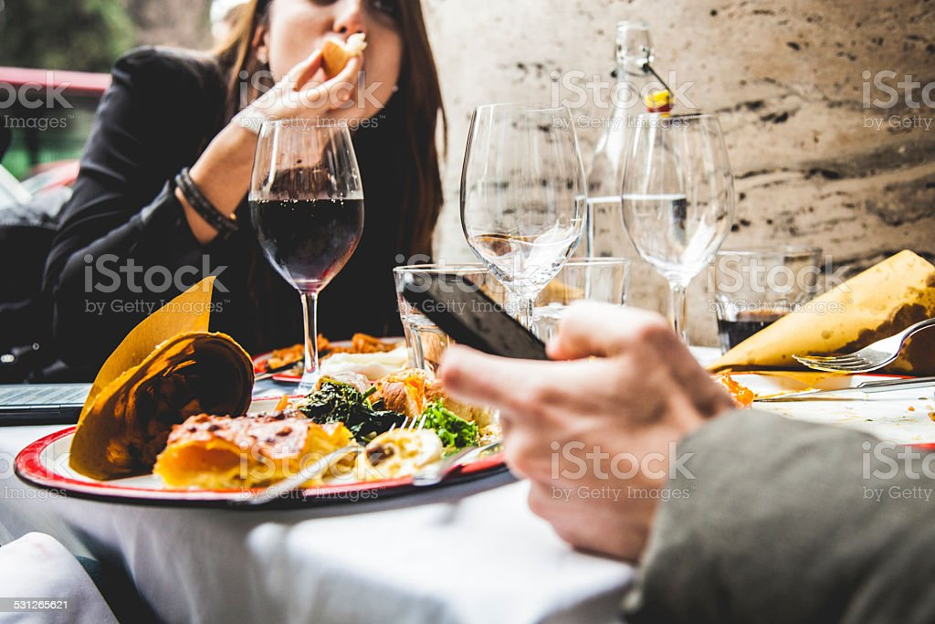 Friends enjoy together a brunch stock photo