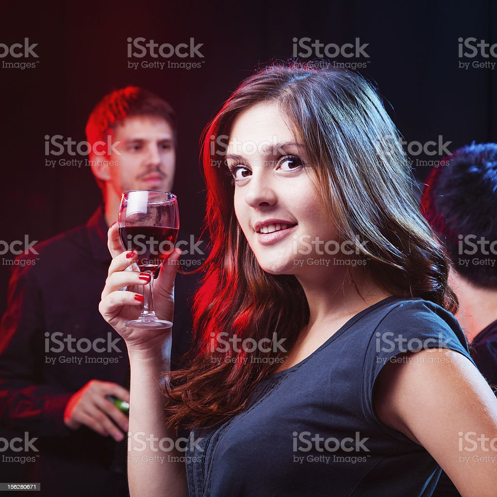 Friends enjoying a party in nightclub royalty-free stock photo