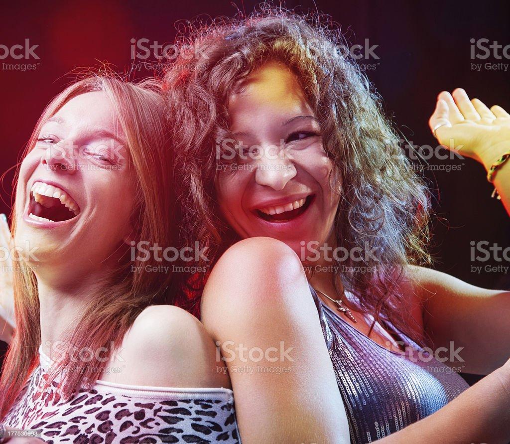 Friends enjoying a party in nightclub royalty-free stock photo