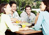 Friends enjoying an outdoor meal