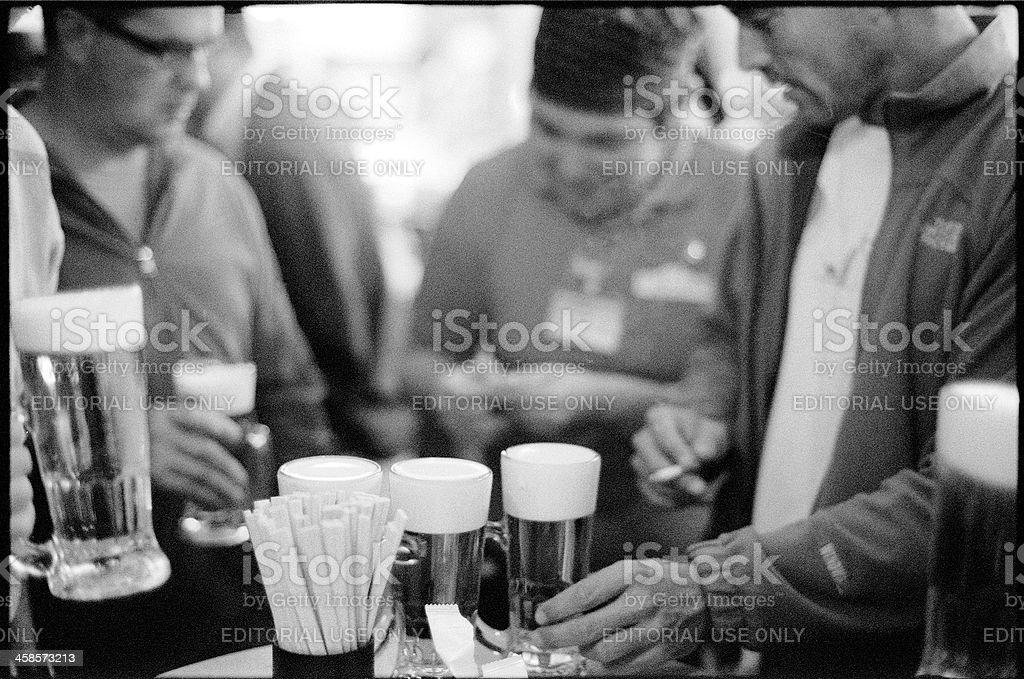 Friends enjoying Beers stock photo